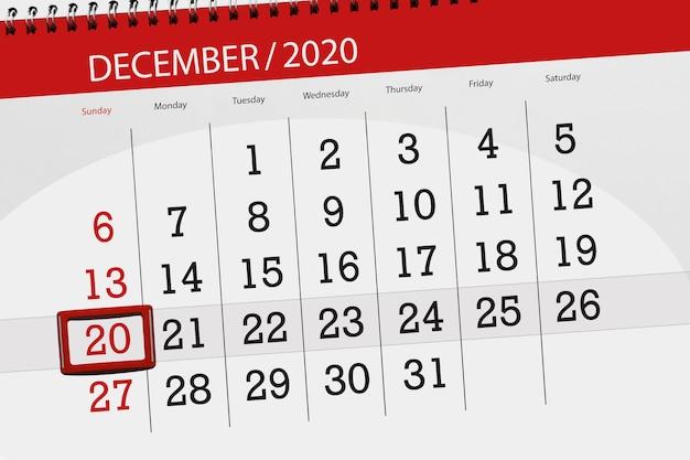 Planejador de calendário para o mês de dezembro de 2020, prazo final dia 20, domingo.