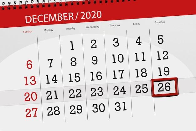 Planejador de calendário para o mês de dezembro de 2020, prazo final dia 26, sábado.