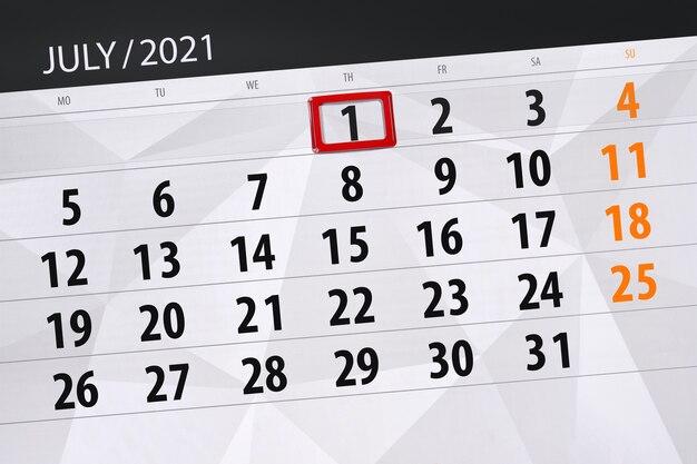 Planejador de calendário para o mês de julho de 2021, deadline day, 1, quinta-feira.