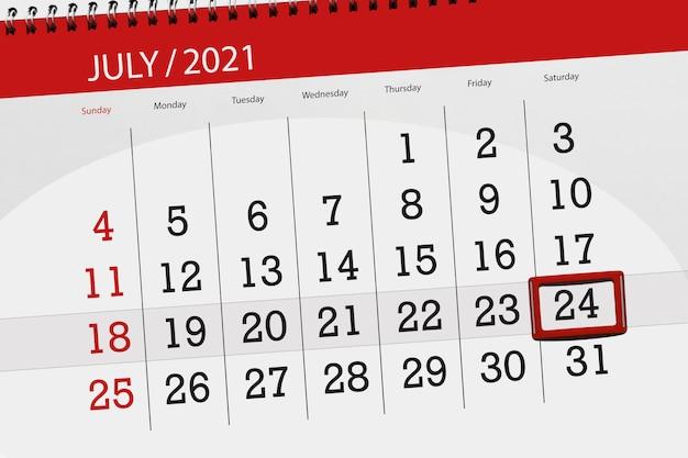 Planejador de calendário para o mês de julho de 2021, prazo dia, 24, sábado.
