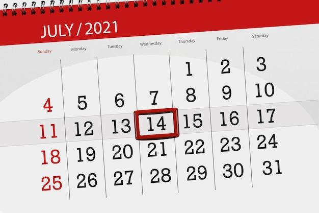 Planejador de calendário para o mês de julho de 2021, prazo final, 14, quarta-feira.