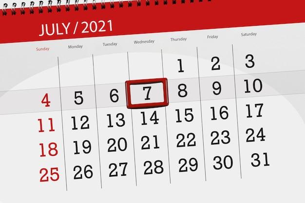 Planejador de calendário para o mês de julho de 2021, prazo final, 7, quarta-feira.