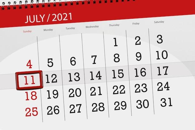 Planejador de calendário para o mês de julho de 2021, prazo final dia, 11, domingo.