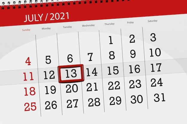 Planejador de calendário para o mês de julho de 2021, prazo final dia, 13, terça-feira.