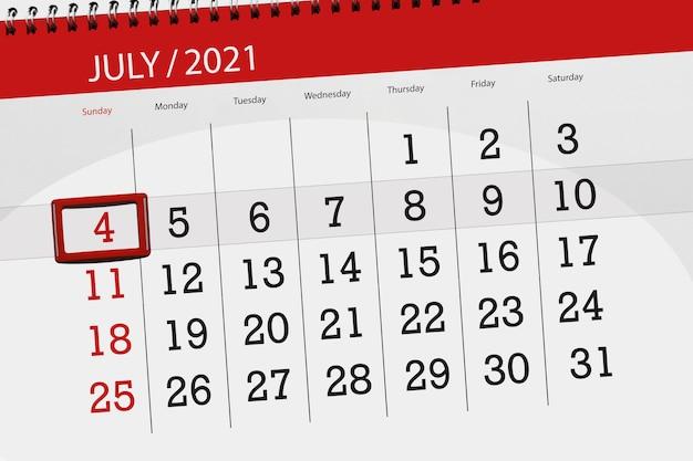 Planejador de calendário para o mês de julho de 2021, prazo final dia, 4, domingo.