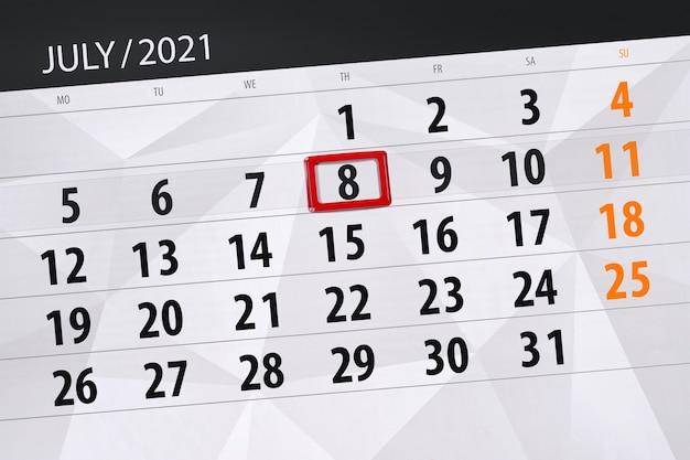 Planejador de calendário para o mês de julho de 2021, prazo final dia, 8, quinta-feira.