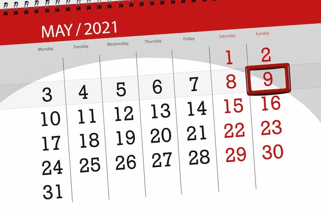 Planejador de calendário para o mês de maio de 2021, prazo final, 9, domingo.