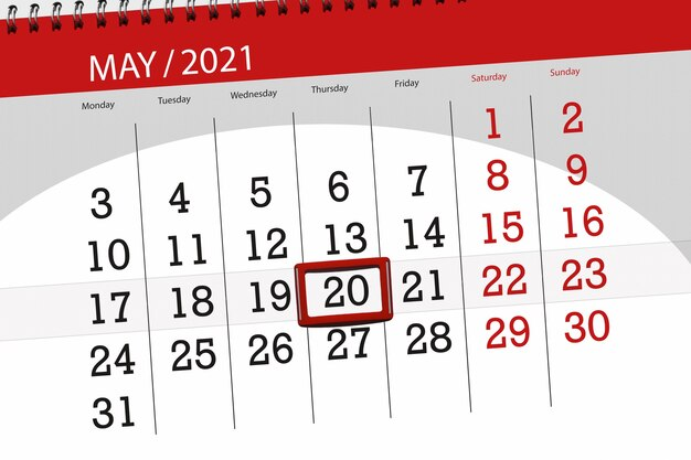 Planejador de calendário para o mês de maio de 2021, prazo final dia, 20, quinta-feira.