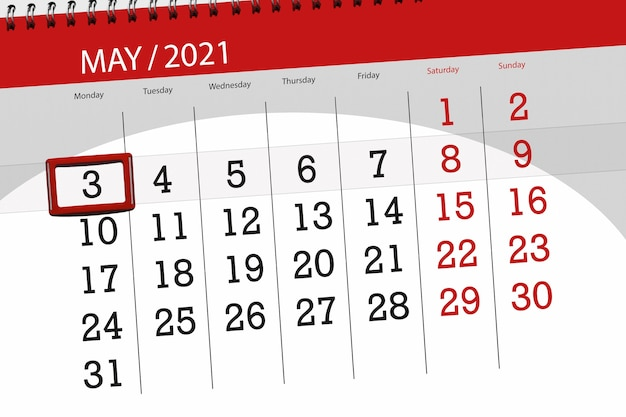 Planejador de calendário para o mês de maio de 2021, prazo final dia, 3, segunda-feira.