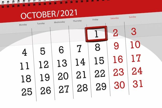 Planejador de calendário para o mês de outubro de 2021, deadline day, 1, sexta-feira.
