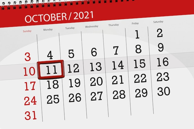 Planejador de calendário para o mês de outubro de 2021, deadline day, 11, segunda-feira.