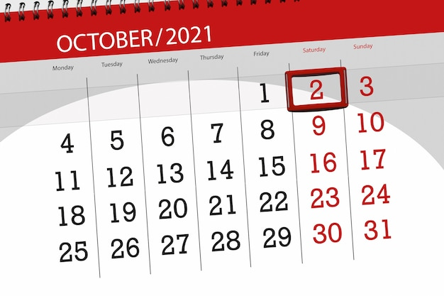 Planejador de calendário para o mês de outubro de 2021, prazo, dia 2, sábado.