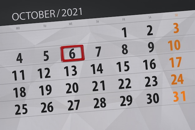 Planejador de calendário para o mês de outubro de 2021, prazo final, 6, quarta-feira.