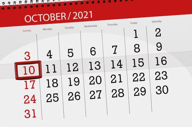 Planejador de calendário para o mês de outubro de 2021, prazo final dia, 10, domingo.