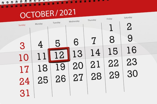 Planejador de calendário para o mês de outubro de 2021, prazo final dia, 12, terça-feira.