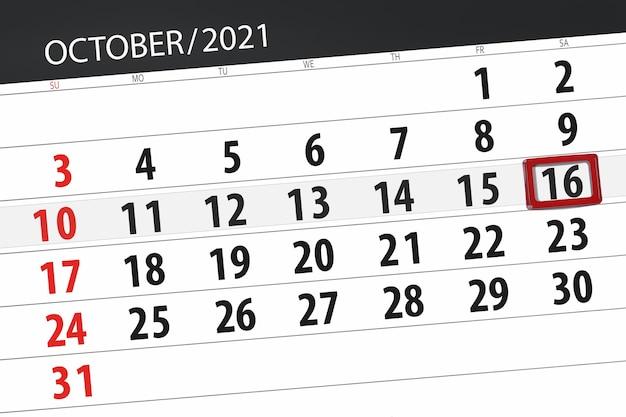 Planejador de calendário para o mês de outubro de 2021, prazo final dia, 16, sábado.