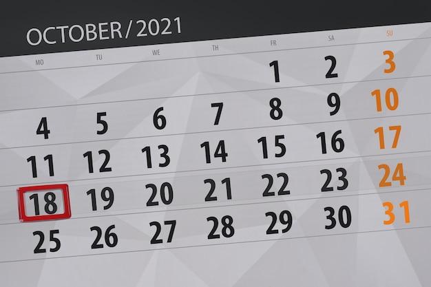 Planejador de calendário para o mês de outubro de 2021, prazo final dia, 18, segunda-feira.