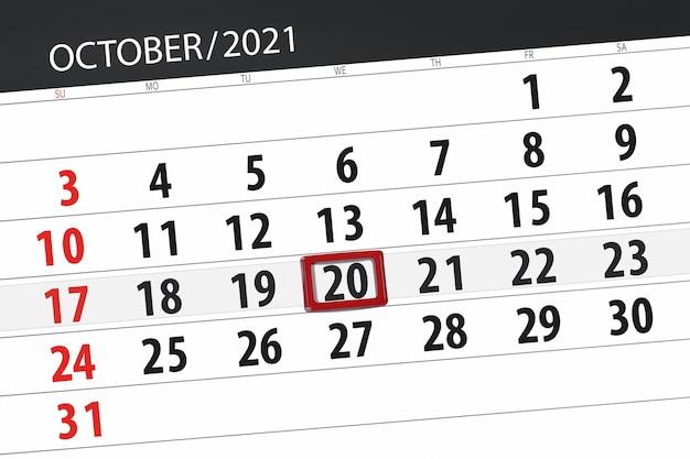Planejador de calendário para o mês de outubro de 2021, prazo final dia, 20, quarta-feira.