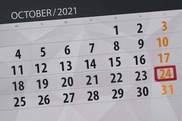 Planejador de calendário para o mês de outubro de 2021, prazo final dia, 24, domingo.