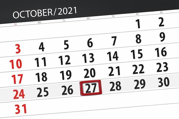 Planejador de calendário para o mês de outubro de 2021, prazo final dia, 27, quarta-feira.