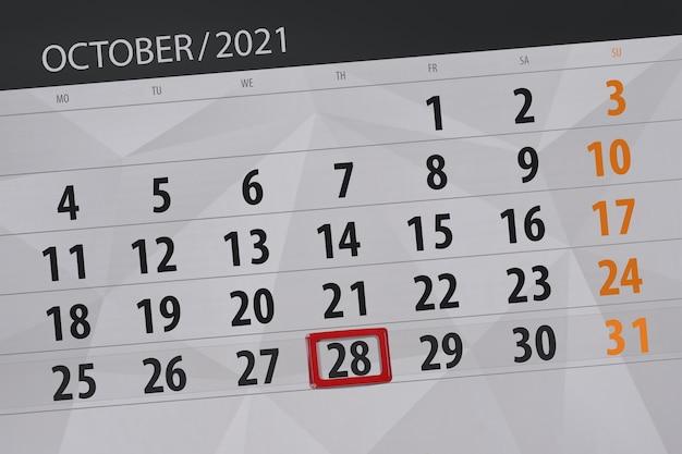 Planejador de calendário para o mês de outubro de 2021, prazo final dia 28, quinta-feira.
