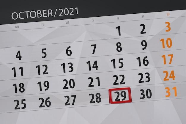 Planejador de calendário para o mês de outubro de 2021, prazo final dia 29, sexta-feira.