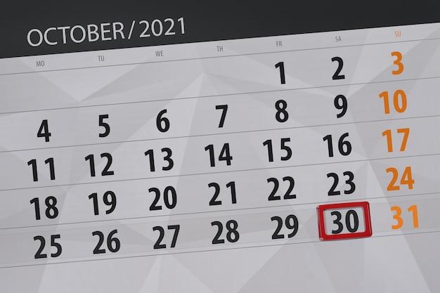 Planejador de calendário para o mês de outubro de 2021, prazo final dia 30, sábado.