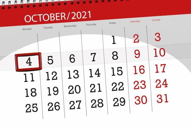 Planejador de calendário para o mês de outubro de 2021, prazo final dia 4, segunda-feira.