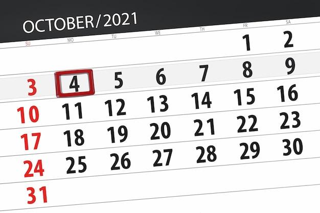 Planejador de calendário para o mês de outubro de 2021, prazo final dia, 4, segunda-feira.