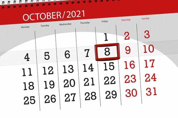 Planejador de calendário para o mês de outubro de 2021, prazo final dia, 8, sexta-feira.