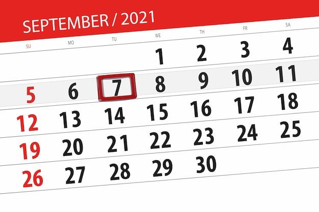 Planejador de calendário para o mês de setembro de 2021, prazo final, 7, terça-feira.