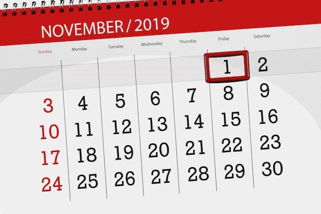 Planejador de calendário para o mês novembro de 2019, prazo final, 1, sexta-feira
