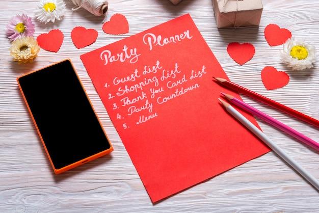 Planejador de festa de dia dos namorados, lista, nota