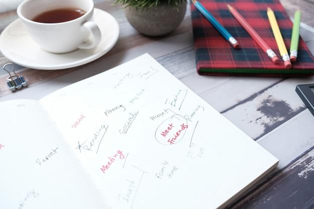 Planejador semanal com escritório estacionário na mesa.