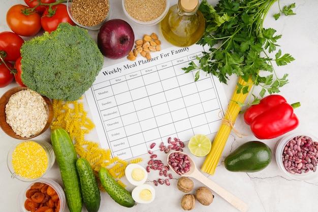 Planejador semanal de refeições para o conceito de família