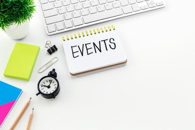 Planejamento de eventos com espaço para cópia