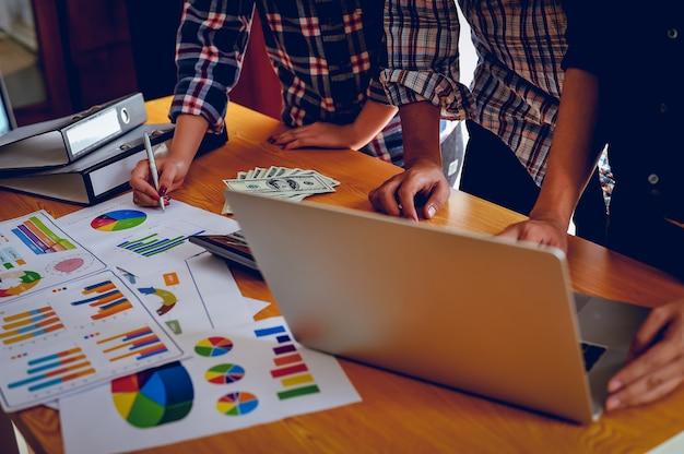 Planejamento de negócios e eventos trabalho em equipe, conceito de trabalho em equipe com área de cópia