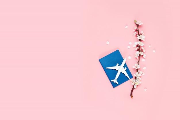 Planejamento de viagens. avião de brinquedo, passaporte e galho de flores