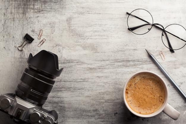 Planejamento matinal com câmera