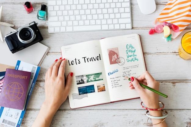 Planejando viagens de viagem anotações wanderkust