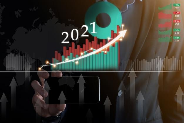 Planeje o crescimento positivo dos negócios no conceito do ano 2021