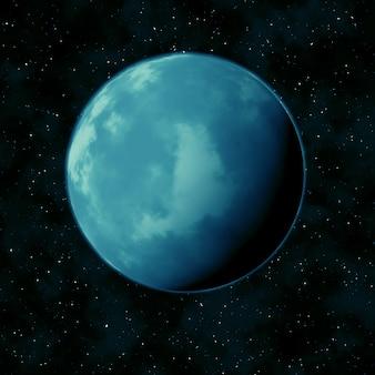 Planeta azul no céu da estrela