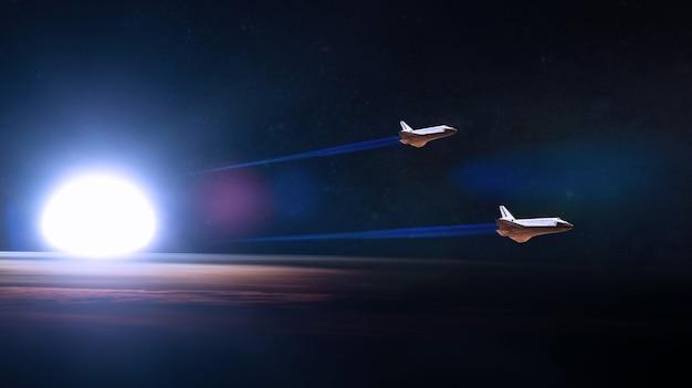 Planeta azul terra e ônibus espaciais decolando em missão