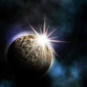 Planeta brilhando no espaço