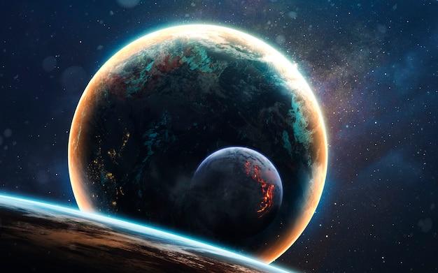 Planeta brilhante no cosmos escuro e frio. imagem do espaço profundo, fantasia de ficção científica em alta resolução ideal para papel de parede e impressão. elementos desta imagem fornecidos pela nasa