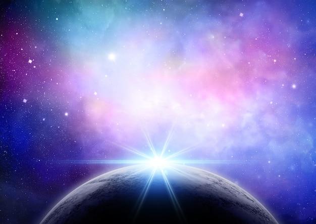 Planeta com uma luz