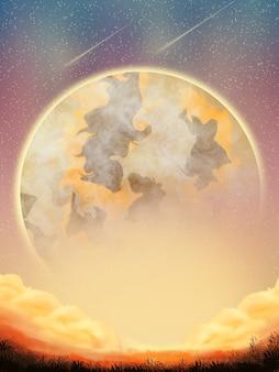 Planeta de galáxia de fantasia de nuvem de fundo