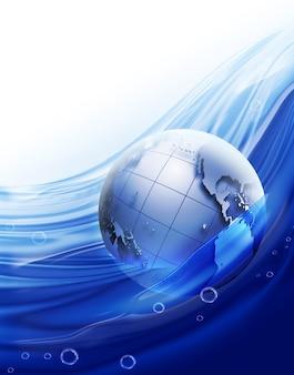 Planeta em uma água limpa e azul sobre fundo branco