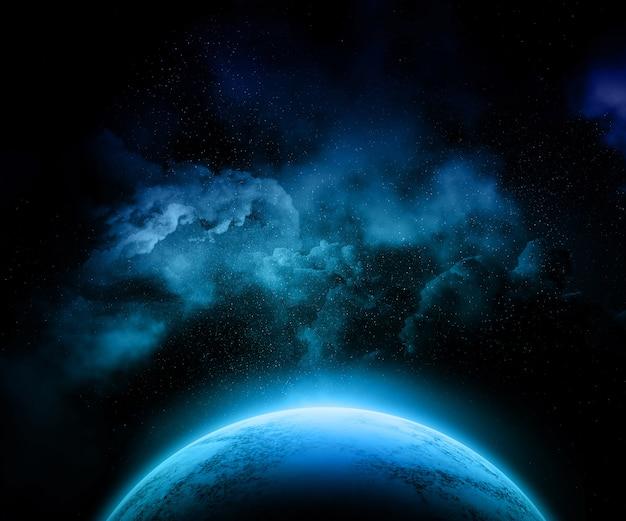 Planeta fictício com céu noturno colorido, estrelas e nebulosa