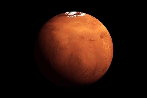 Planeta marte em um fundo escuro visto do espaço os elementos desta imagem foram fornecidos pela nasa